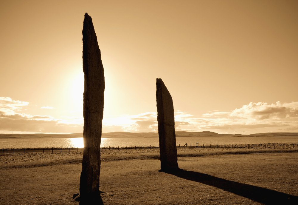 Sunset at the Standing stones of Stenness in late afternoon, Orkney, Scotland