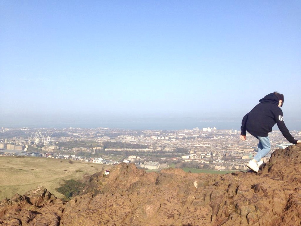 At the top of Arthur's Seat