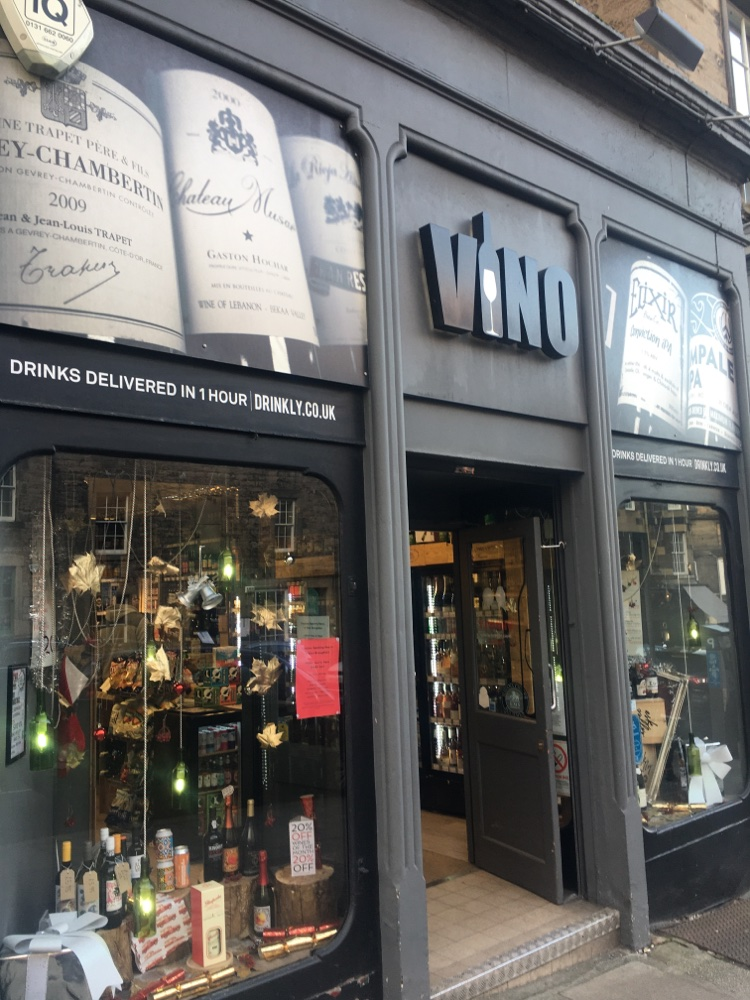 Vino shop on Broughton Street in Edinburgh